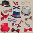 Vector set hipster accessories — Stock Vector