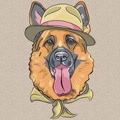 Vector funny cartoon hipster dog German shepherd — Stock Vector