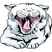 Joli chat blanc vecteur bâille — Vecteur