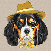Vector funny cartoon hipster dog King Charles Spaniel — Stock Vector