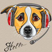 Vector dog Jack Russell Terrier, call center operator with phone — Stock Vector
