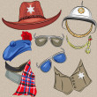 Vector set of military and sheriff accessories — Stock Vector