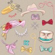 Vector set millinery and accessories — Stock Vector