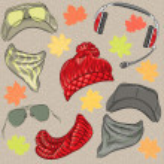 Vector set hipster autumn accessories — Stock Vector