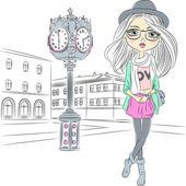 Vector hipster fashion girl near with a big clock — Stock Vector