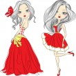 Vector set beautiful fashion girls in red dresses — Stock Vector