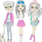 Vector set hipster fashionable girls — Stock Vector