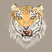 Vector menacing growling tiger — Stock Vector