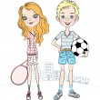 Vector girl with a tennis racket and sports boy with soccer ball — Stock Vector #41871469