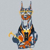 Vector funny cartoon hipster dog Doberman Pinscher breed — Stock Vector