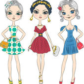 Vector beautiful fashion girls top models  — Stock Vector