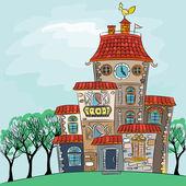 Vector fairytale multicolored house  — Stock Vector
