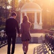 Young fashion elegant stylish Hipster couple at dawn — Stock Photo
