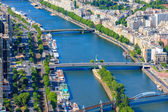 View of Paris, river Seine from the Eiffel Tower — Stock Photo