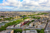 View of Paris, river Seine from the Eiffel tower — Stockfoto