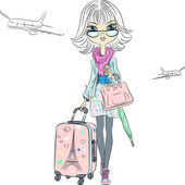 Vector beautiful fashion girl travels the world — Stock Vector