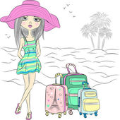 Vector beautiful fashion girl on sea beach — Stock Vector