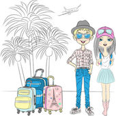 Vector hipster couplel travels the world — Stock Vector