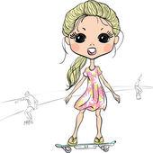 Vector fashion beautiful girl on the skateboard — Stock Vector