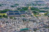 View of Paris and Les Invalides from the Eiffel tower, France — Stock Photo