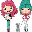 Vector hipsterl fashion cute girl wit pets — Stock Vector