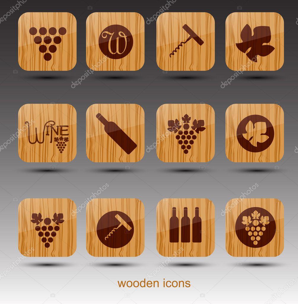 木制葡萄酒主题图标.矢量