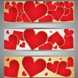 Set of web banners with hearts. Vector — Stock Vector