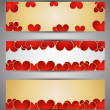 Set of web banners with hearts. Vector — Stockvectorbeeld
