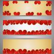 uppsättning web banners med hjärtan. vektor — Stockvektor
