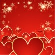 Valentine's day vector background with hearts and snow — Stock Vector