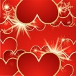 Valentine's day vector background with hearts and snow — Vector de stock