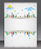 Funny city theme blank with sun and clouds. — Stock Vector