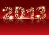 Złoty znak 2013 świecące gwiazdki — Wektor stockowy