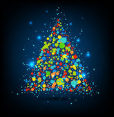 Vector Christmas tree with dots and stars. — Stock Vector