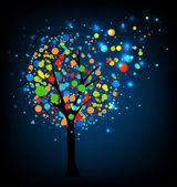 Abstract tree at night. — Stock Vector