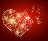 Coração de ouro feito com neve. vector — Vetor de Stock