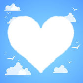 Heart shaped cloud in the blue sky. — Vector de stock