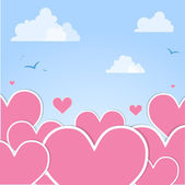 Pink hearts in the sky. Vector — Stock Vector