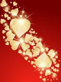 Background 3d golden hearts. Vector — Stock Vector
