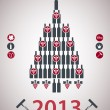 A new-year tree is done from bottles — Image vectorielle