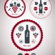 Collection of Premium Quality Wine Labels with retro vintage sty - Stok Vektör