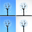 Snow tree. Vector set. — Stock Vector