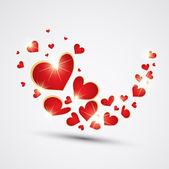Ola hecha con corazones rojos. Vector — Vector de stock