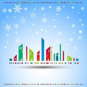 Winter in a city. Vector — Stock Vector