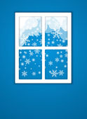 Winter after a window. Vector — Stock Vector