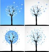 Snow tree. Vector set. — Stock Vector