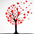 Abstract tree made with hearts. Vector — Imagens vectoriais em stock
