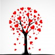 Abstract tree made with hearts. Vector — Image vectorielle