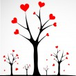 Abstract tree made with hearts. Vector — Vector de stock