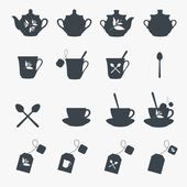 Set of tea objects. Vector — Stock Vector